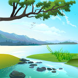 Panoramic lanscape of lake and river Stock Photos