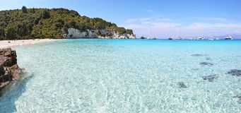 Panoramic lanscape of Voutoumi beach Antipaxos island Greece royalty free stock photography