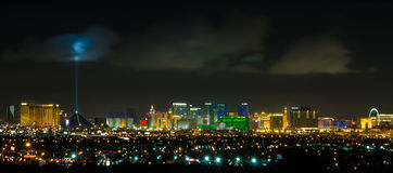 Panoramic Las Vegas Strip cityscape at night. Royalty Free Stock Photography