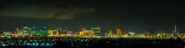 Panoramic Las Vegas Strip cityscape at night.