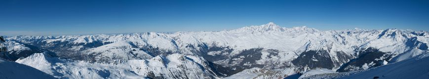 Panoramic in Les Arcs. France Royalty Free Stock Images