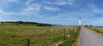 Panoramic Lighthouse Lastres, Asturias Coast. stock images