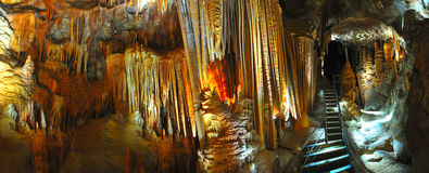 Panoramic of limestone stalagmites and stalactite, jenolan caves Royalty Free Stock Photography
