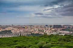 Panoramic Lisbon. View of the city or Lisbon in the distance from Monsanto Park stock photography