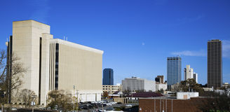 Panoramic Little Rock. Arkansas. Blurred barque in the foreground stock image