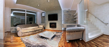Panoramic living room Stock Photos