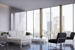 Panoramic living room. Living room interior with two white sofas standing near a coffee table, a black armchair and a panoramic window. 3d rendering, mock up Stock Image