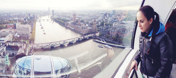 Panoramic London view from London Eye Stock Photography
