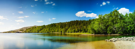 Panoramic long exposure shot of a lake in Northern Norway Royalty Free Stock Image