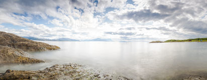 Panoramic long exposure shot of the sea in Norway Royalty Free Stock Photos