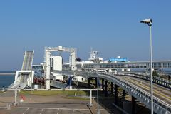 Panoramic look about the  harbour from Puttgarden (Fehmarn) Stock Photo