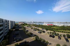 Panoramic look about the yacht harbour from Burgtiefe (Fehmarn) Royalty Free Stock Image
