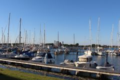 Panoramic look about the yacht harbour from Burgtiefe. Royalty Free Stock Photo