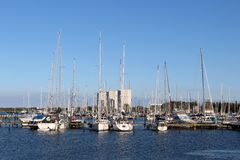 Panoramic look about the yacht harbour from Burgtiefe. Royalty Free Stock Images