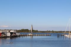 Panoramic look about the yacht harbour from Burgtiefe. Royalty Free Stock Photography