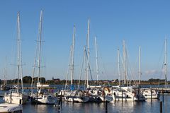 Panoramic look about the yacht harbour from Burgtiefe. Royalty Free Stock Image