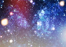 Panoramic looking into deep space. Dark night sky full of stars. The nebula in outer space. Stock Photos