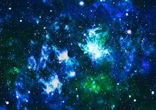 Panoramic looking into deep space. Dark night sky full of stars. The nebula in outer space. Royalty Free Stock Photos