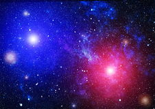 Panoramic looking into deep space. Dark night sky full of stars. The nebula in outer space. Royalty Free Stock Photography
