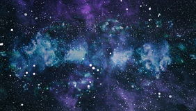 Panoramic looking into deep space. Dark night sky full of stars. The nebula in outer space. Royalty Free Stock Photo