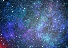 Panoramic looking into deep space. Dark night sky full of stars. The nebula in outer space. Stock Image