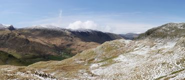 Panoramic looking down to Seatoller, Lake District Stock Images