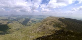 Panoramic looking east from Swirl How, Lake District Stock Photography