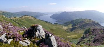 Panoramic looking over mountain to Ullswater, Lake District Royalty Free Stock Images