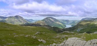 Panoramic looking to Buttermere, Lake District Royalty Free Stock Image