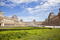 Panoramic of the Louvre Museum stock images