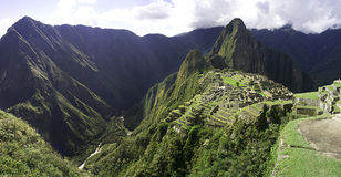 Panoramic Macchu Picchu inca ruins, Peru stock photo