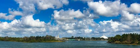 Panoramic of the Magic Kingdom. Beautiful day for a ferry ride over to the Magic Kingdom in Orlando, Florida Royalty Free Stock Photography