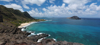 Panoramic of Makapuu Beach Hawaii Stock Images