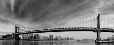 Panoramic Manhattan Bridge in Winter Stock Photography