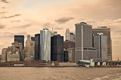 Panoramic of the Manhattan Skyline Royalty Free Stock Photos