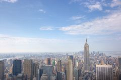 Panoramic Manhattan Skyline. Manhattan Skyline from atop 30 Rockefeller center, New York City, NY Royalty Free Stock Photography