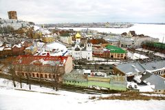 Panoramic March View Nizhny Novgorod Stock Image