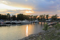 Panoramic Marina Sunset Stock Photo