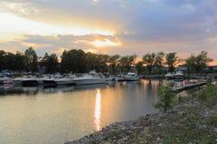Panoramic Marina Sunset Stock Photo