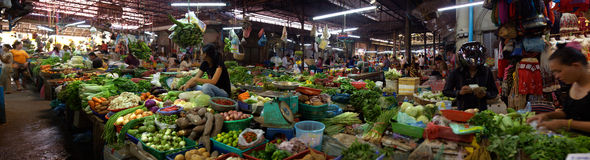 Panoramic of market in Siem Reap Stock Photo