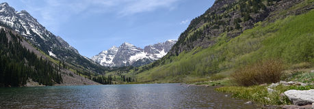 Panoramic Maroon Bells, Colorado Stock Image