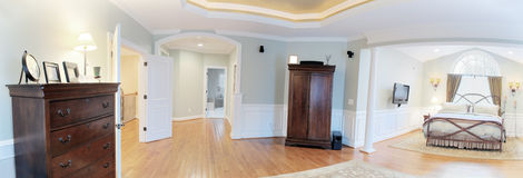 Panoramic Master Suite Interior Royalty Free Stock Photos