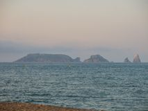 Panoramic of the Medes Islands, in the Mediterranean sea. Costa Brava, Spain royalty free stock photography