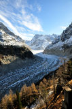 The Panoramic Mer de Glace in the Alps, close to Chamonix Royalty Free Stock Image