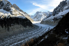 The Panoramic Mer de Glace in the Alps, close to Chamonix Stock Photos