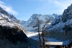 The Panoramic Mer de Glace in the Alps, close to Chamonix Royalty Free Stock Images