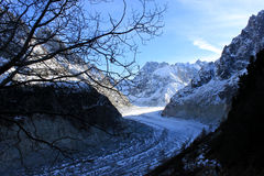 The Panoramic Mer de Glace in the Alps, close to Chamonix Royalty Free Stock Photo