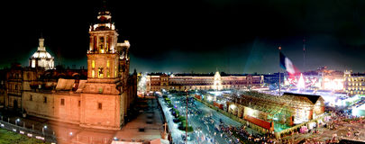 Panoramic of Mexico city. Mexico City, Mexico- December 27, 2007:Panoramic of Mexico city during the Christmas season Stock Photos