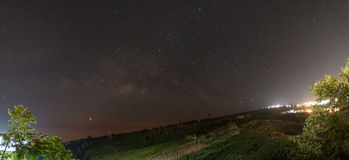 Panoramic Milky way scene on hil Royalty Free Stock Images