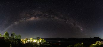 Panoramic milky way and starry sky at night in Semeru National Park, Indonesia Royalty Free Stock Photo
